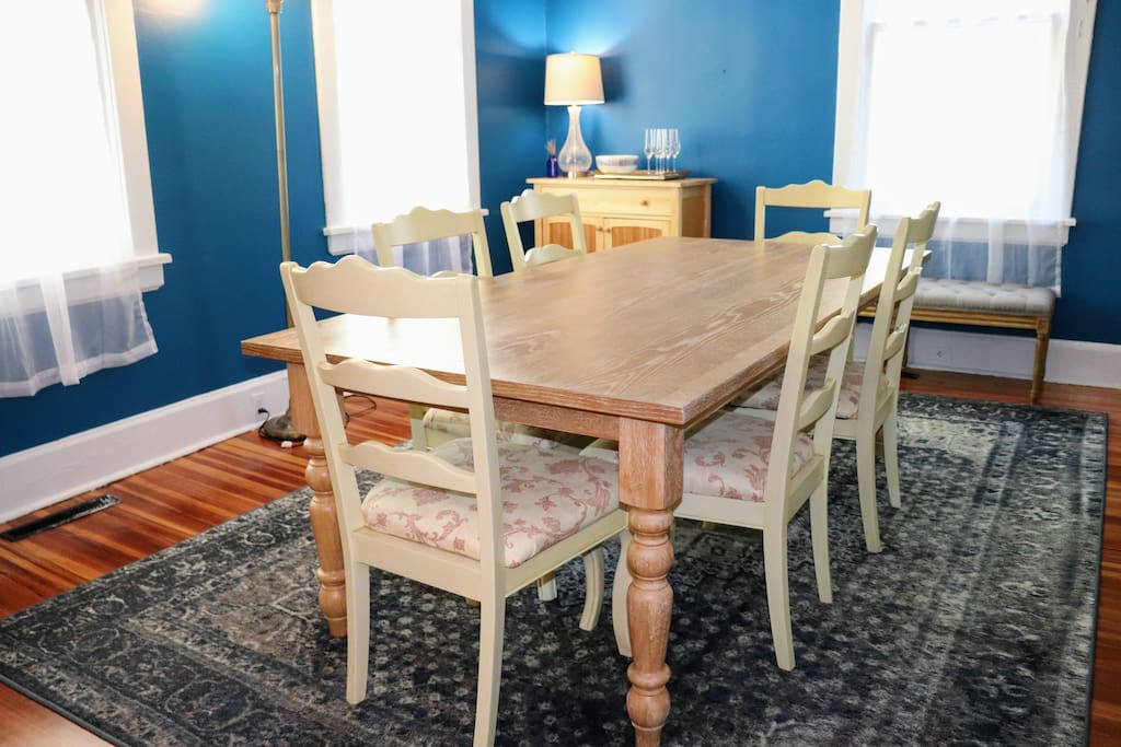 Dining Room table can comfortably fit 8. Perfect for family meals, game nights, or work retreats.