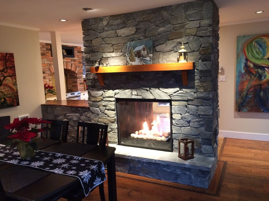 Gas double sided fireplace.