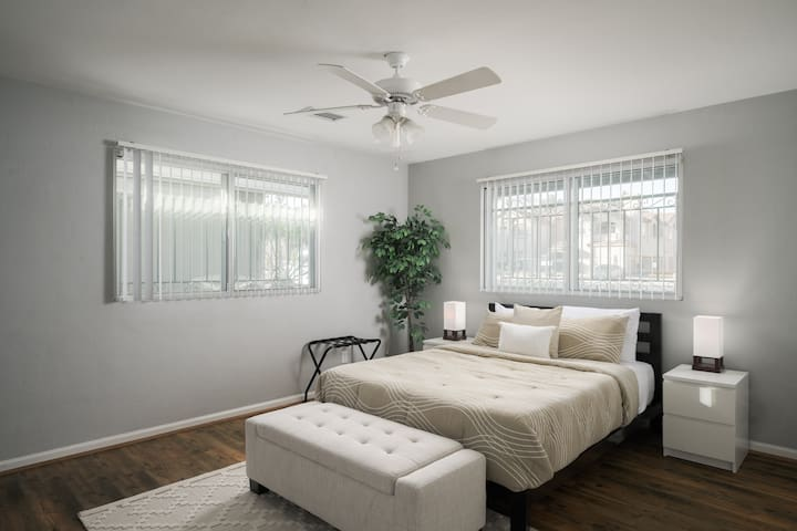 Master bedroom with QUEEN size plush mattress and walk in closet.
