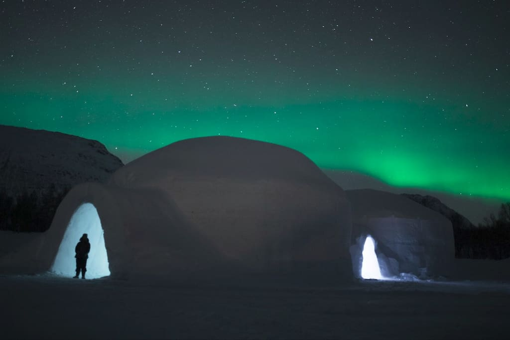 Our ice hotel under the Northern Lights - Tromso Ice Domes.