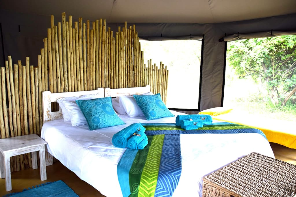 Comfortable, spacious rooms with  vibrant African designs