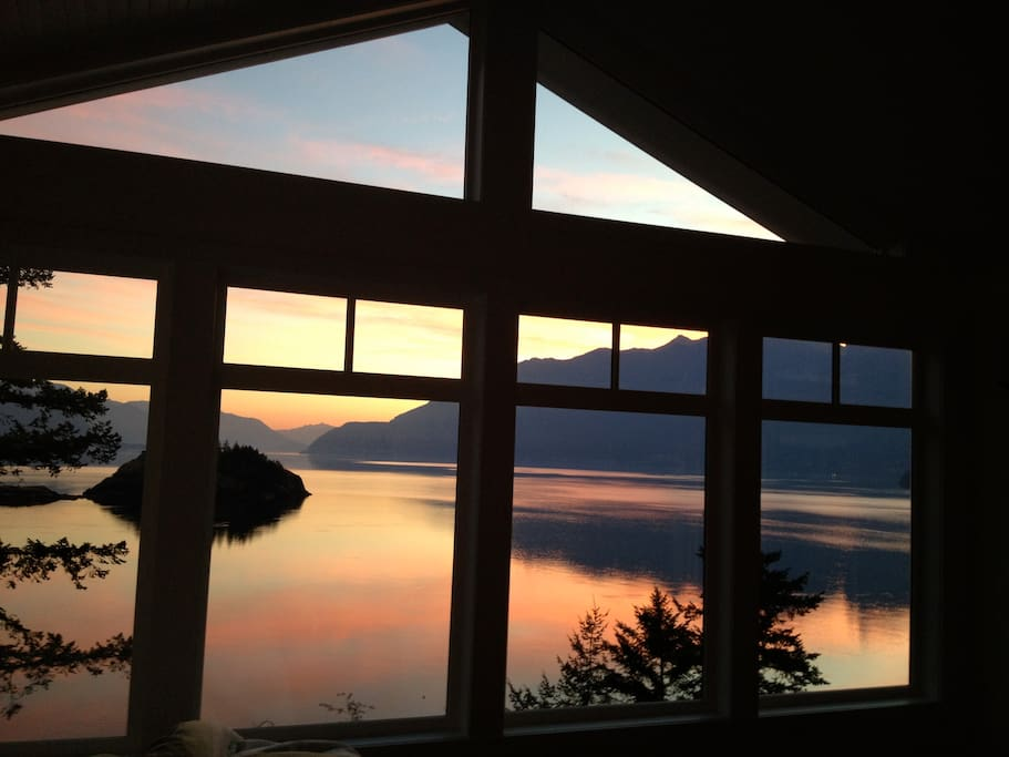 master bedroom has floor to ceiling windows.  Wake up to this every morning and look for whales passing by