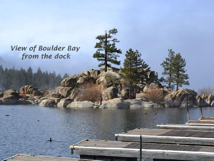 The Boulder Bay island viewed from our dock