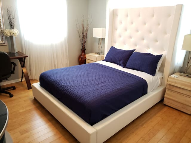 Enjoy this plush Queen bed guaranteed great night sleep.