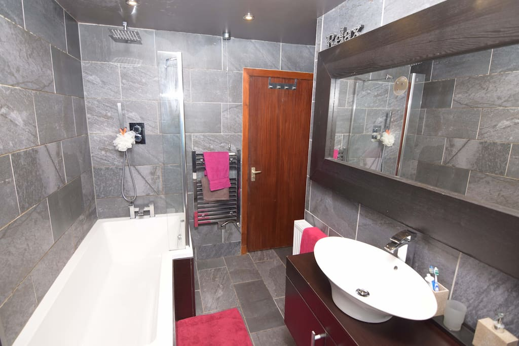 Main bath and shower room with power shower