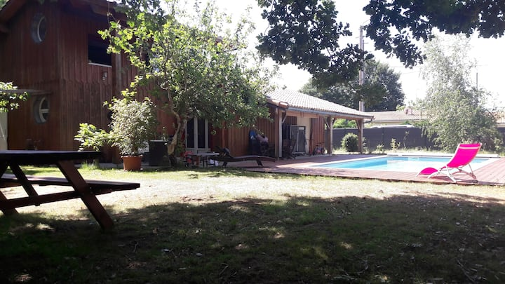 Maison bois avec piscine bassin arcachon