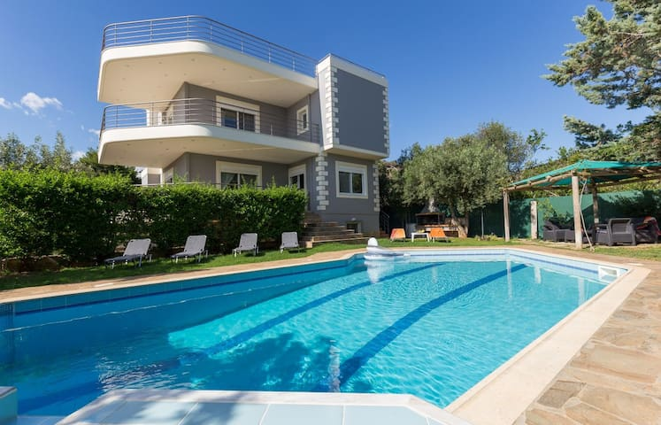 Villa with a pool , sunbeds and outdoor sitting areas