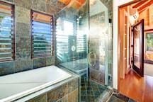 Second floor master bath with soaking  tub and walk in shower