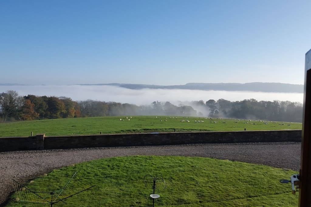 The view from the bedroom - the mist gathers over Tintern some mornings