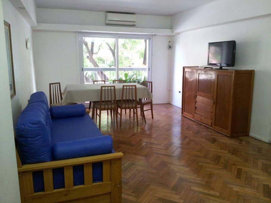 Sala principal con divan-cama (dos camas individuales). televisión y wifi.