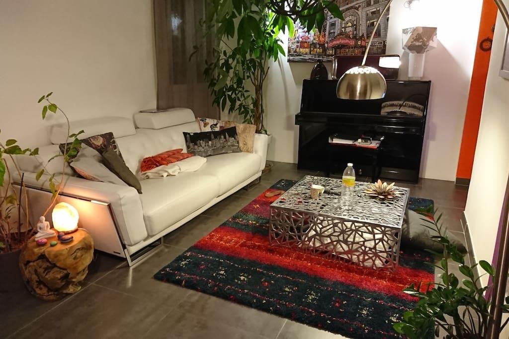 Salon avec espace télé et piano