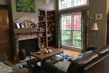 Living room with great view of back yard