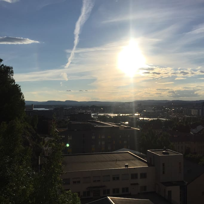 A summer evening at nine  a'clock overlooking the Oslo fjord from the terrace