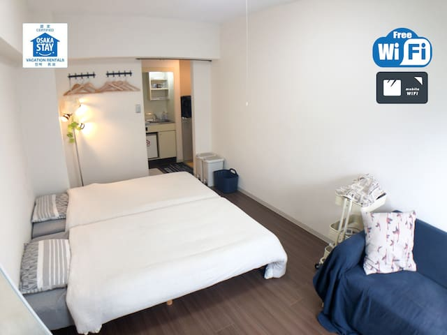 ☆Near NAMBA(5mins by train)☆Free WIFI☆406☆