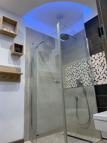 ebenerdige Dusche, mit abgehängter Decke, automatischer Belüftung, dimmbarer Beleuchtung und Badlautsprecher