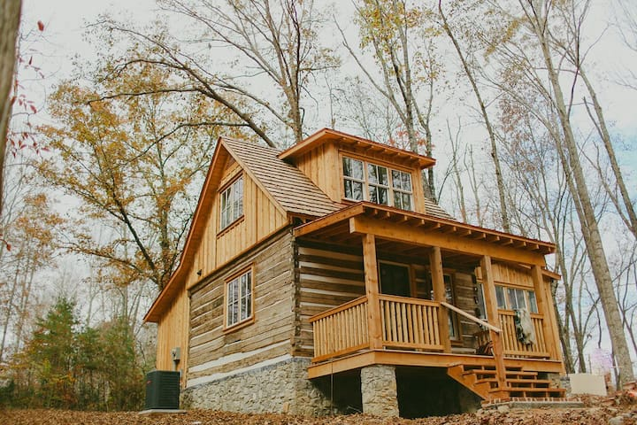 Newly re-constructed log home from the 1800s which had been taken down from the Rickman area in the 1990s.