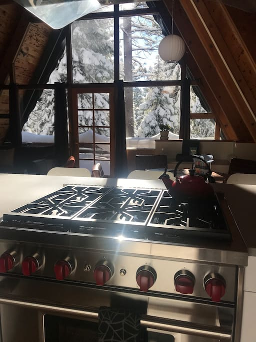 Guests are welcome to use the Le Creuset kettle and French press, as well as the many pots, pans, and other kitchen utensils on the six-burner Wolf stove.