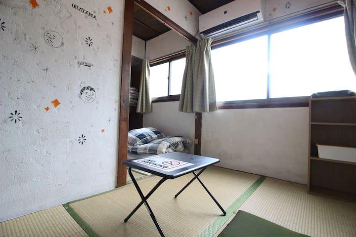 ウォールアートが特徴的な民家/岡山駅から徒歩約10分/共同住宅/2名様用個室