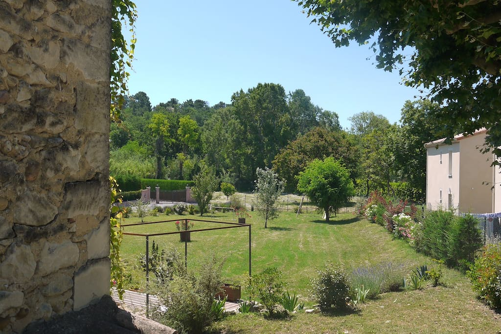 View of the guests' garden from the entry of the mill