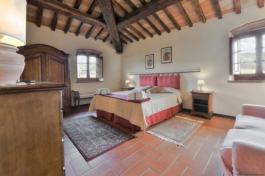 One of the 9 double-bedrooms inside the Villa