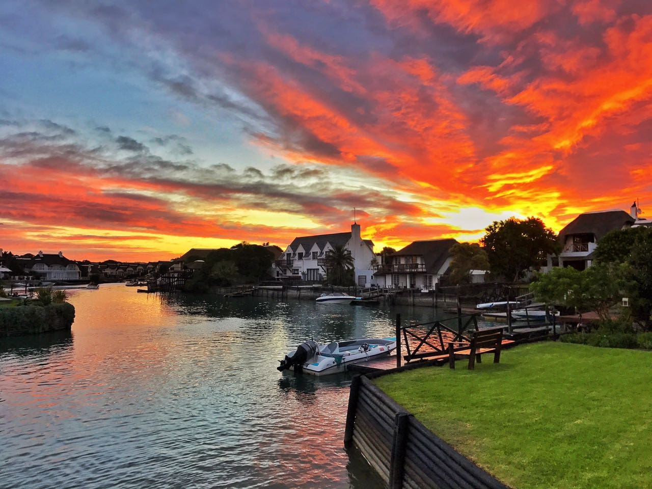 Spectacular sunset over the canal
