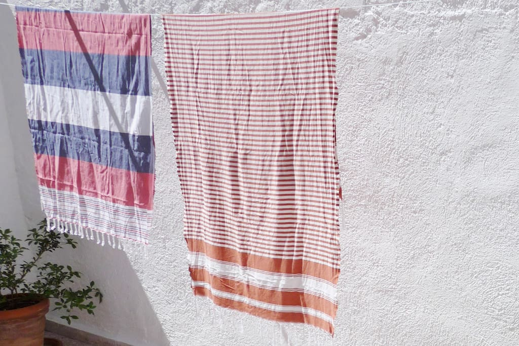 In the brilliant light and warmth of the sun your beach towels dry in an instant.