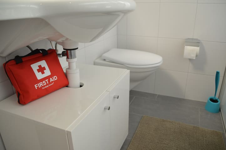 First Aid kit and hair dryer provided