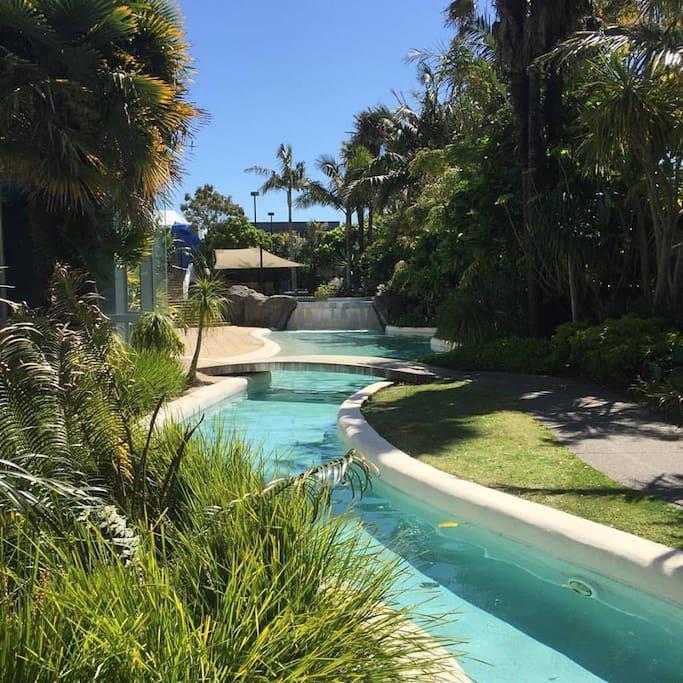 Lush outdoor pool area