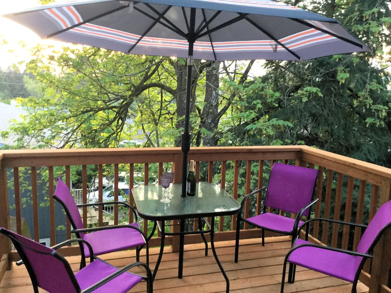 Purple House PDX- Enjoy your private balcony nestled in the trees.