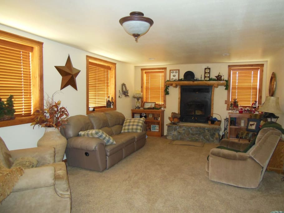 Main Living with Riverrock Fireplace