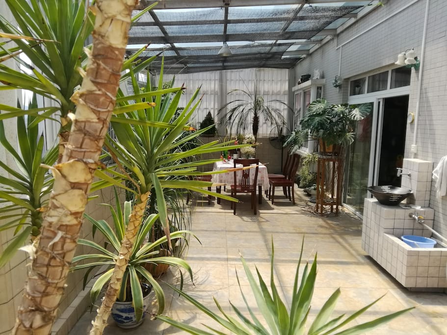 50平米阳光露台,餐桌,绿色植物,洗手盆池