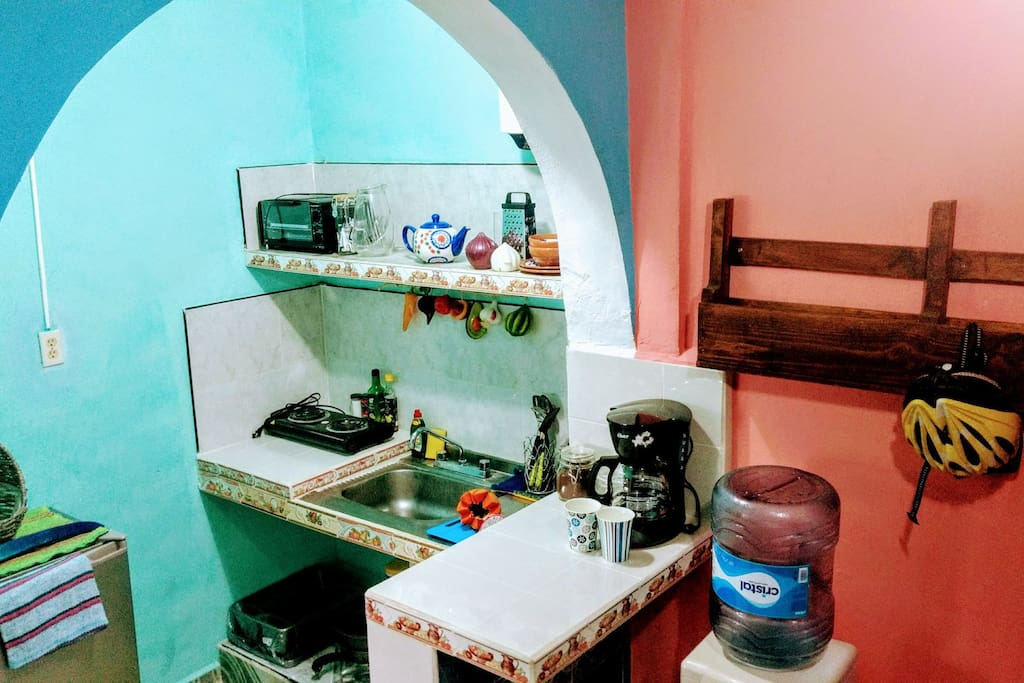 The kitchen is fully-equipped, and you have plenty of comforts of home, including coffee, tea, bottled water, and fruit.