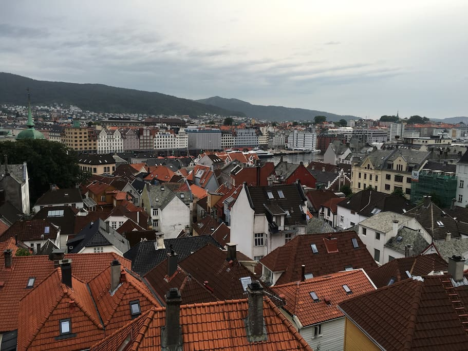 View from inside house over central Bergen. 90 m from Fløybanen, 200 m from Bryggen, quiet, cobblestoned  idyllic archtypical house in most idyllic part of Bergen city centre