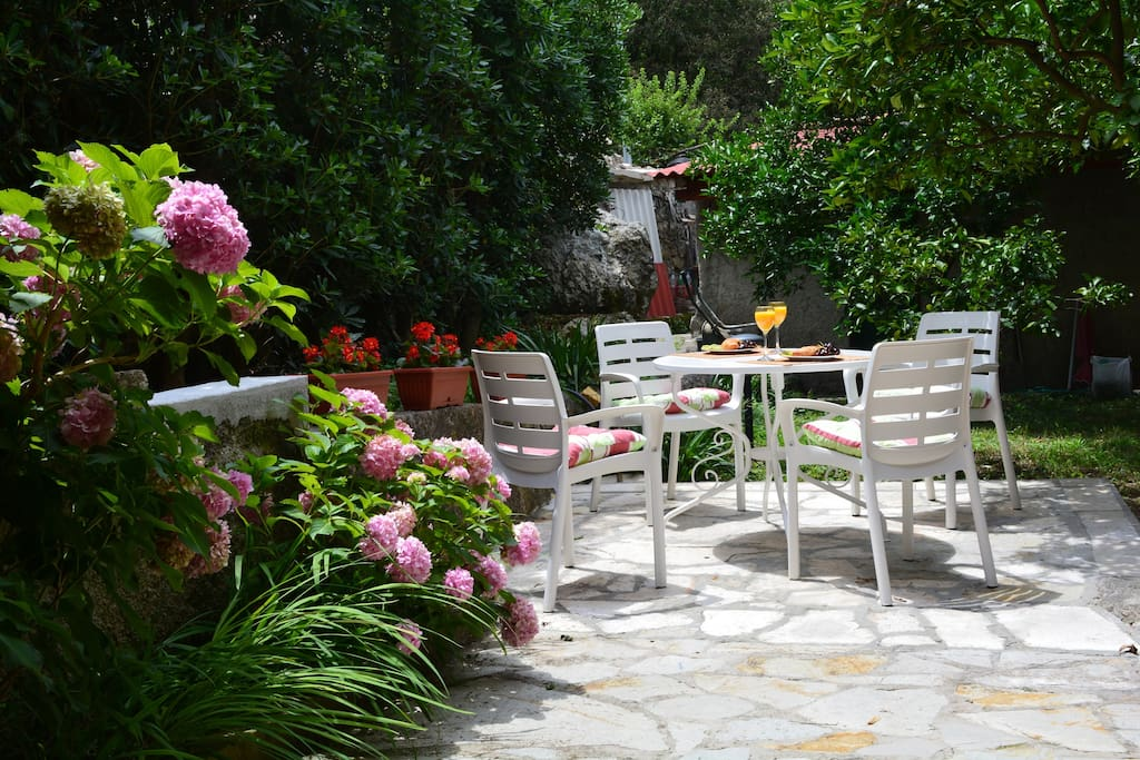 Patio in the garden for  enjoying your time surrounded by greenery.