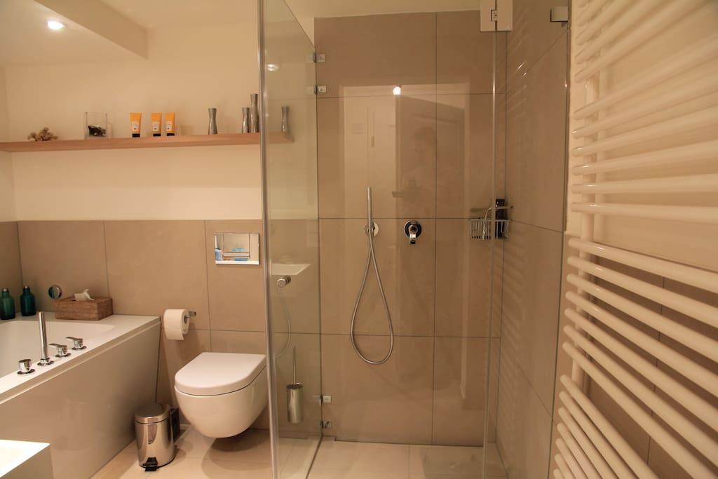 Modernes Badezimmer mit begehbarer Dusche