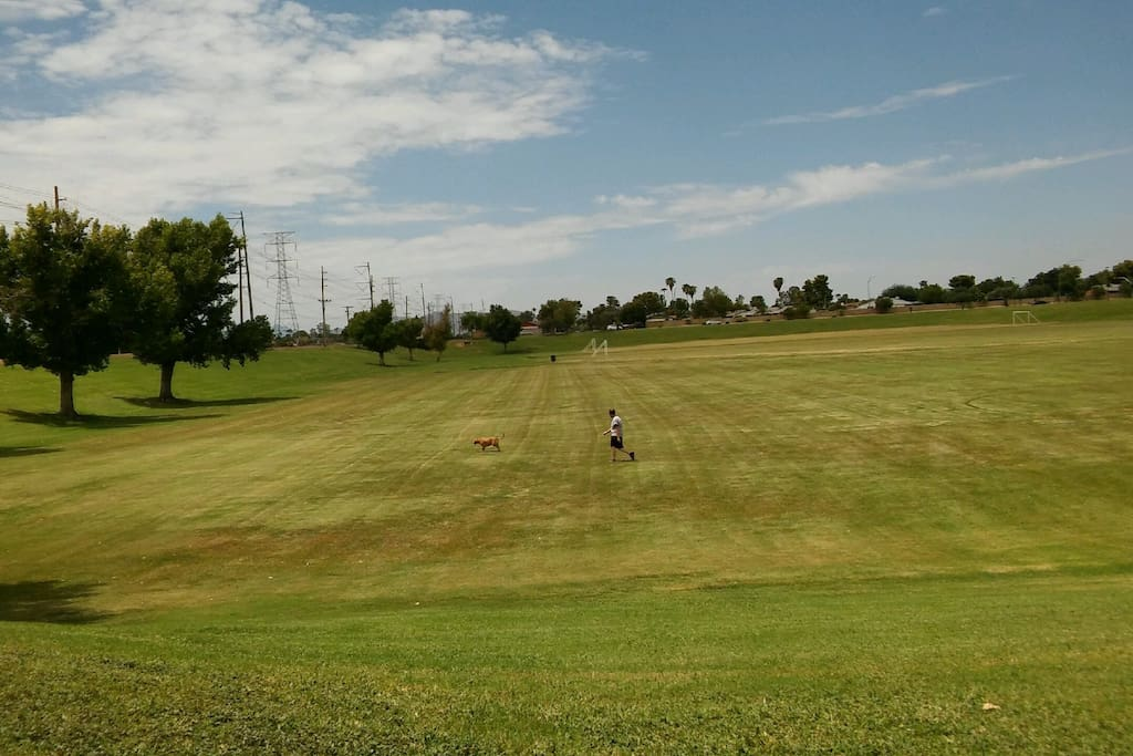 Huge Palo Verde park 3 minutes away to relax, jog, play golf, soccer, or basketball after a busy day