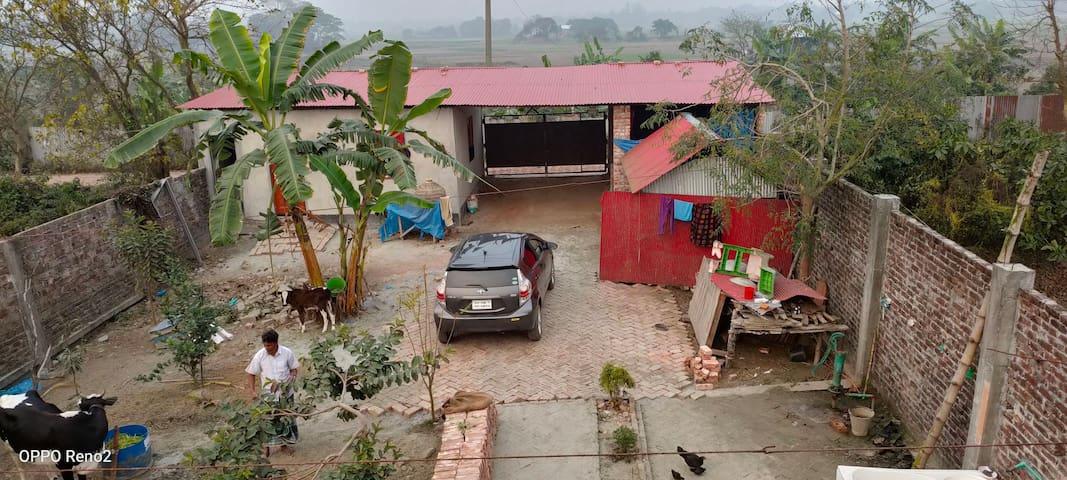 Near Brahmaputra river. a village homes
