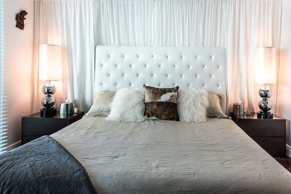 Master bedroom has a California King bed with luxurious linen and the most comfortable foam mattress ever!