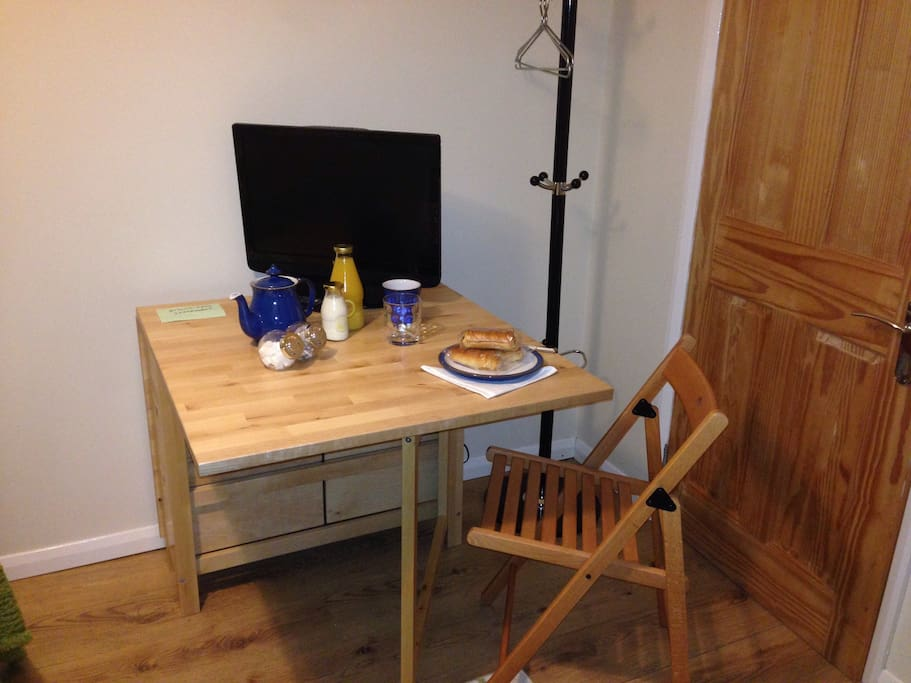 Complimentary continental breakfast, tea and coffee at our new table and work space