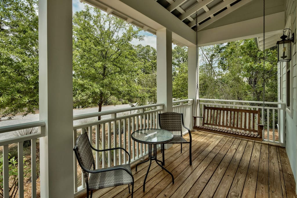 Swing yourself into vacation bliss out on your porch.