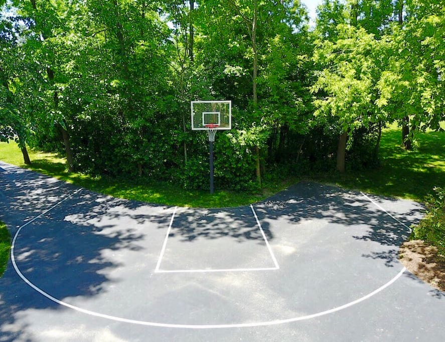 Half basketball court with Gorilla hoop
