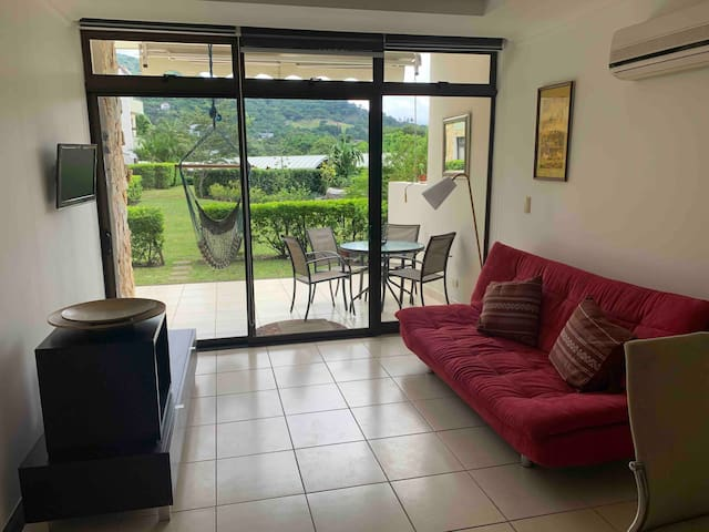 Living room with access to outside terrace