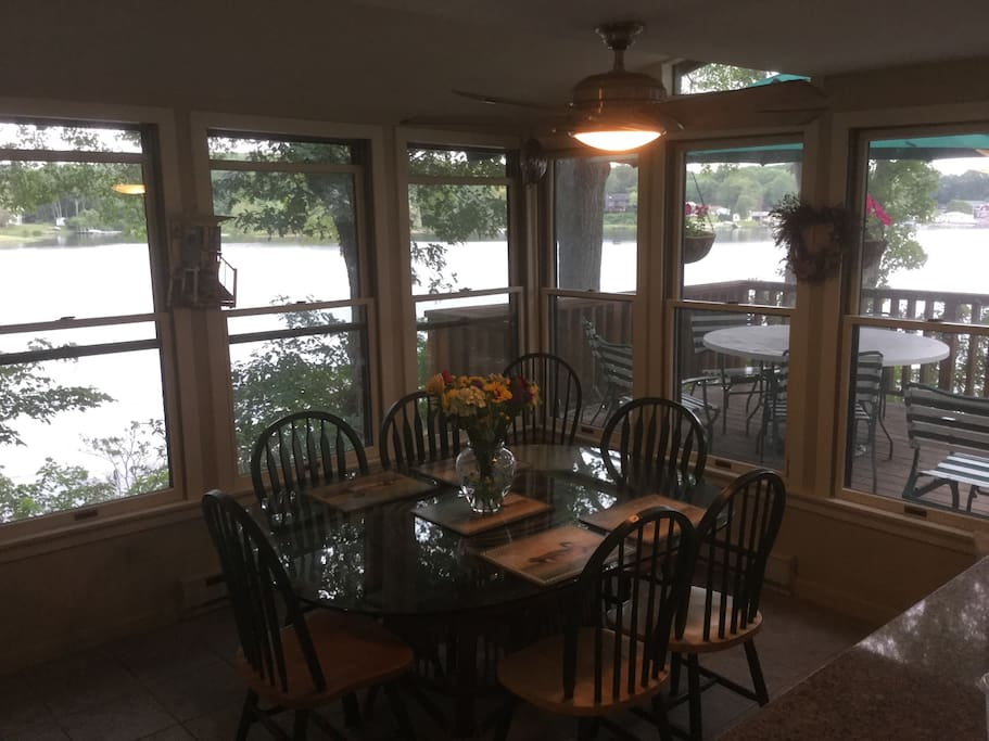 Kitchen,dining area/looking out to Lake & deck