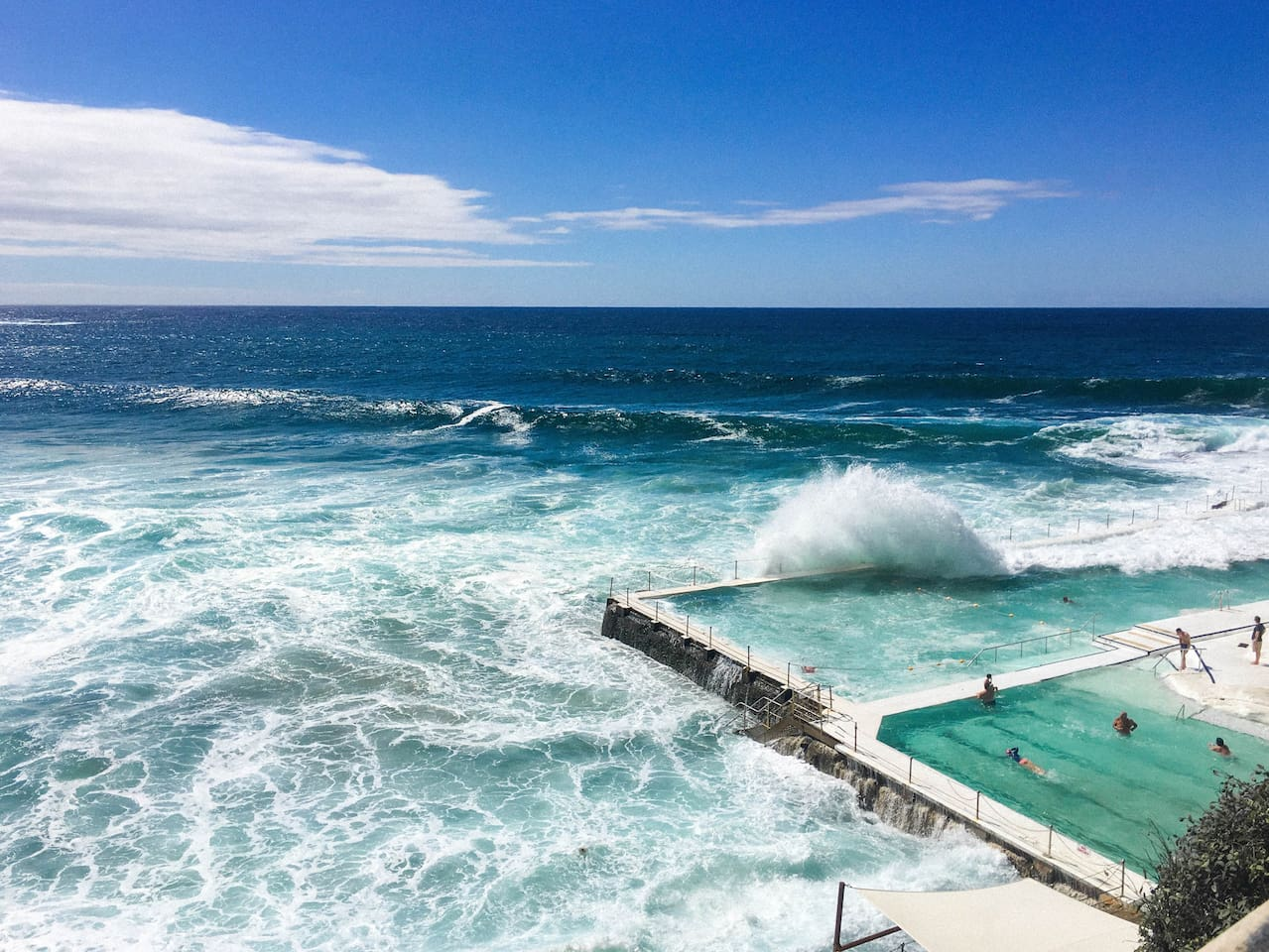 This is the ocean pool south end of Bondi Beach below Iceberg, 2 mins walk from apartment.