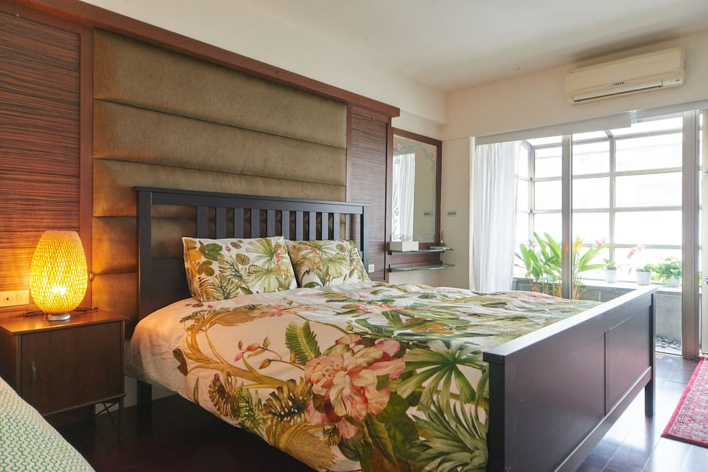 Room1: Master bedroom with 1 king size bed and 1 single bed(room with private bathroom) with brand new mattress and light blocking curtains and small patio with lots of greens and flowers