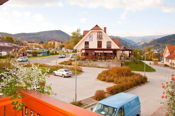 Cozy room in Hotel Zvon in Zreče with a balcony