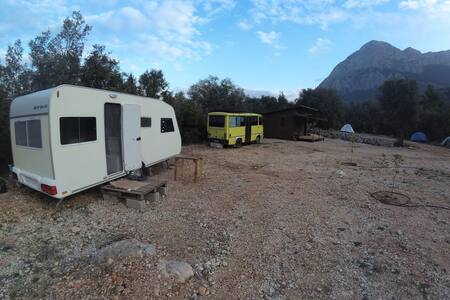 Caravan in Camp Geyikbayiri in Center of climbing
