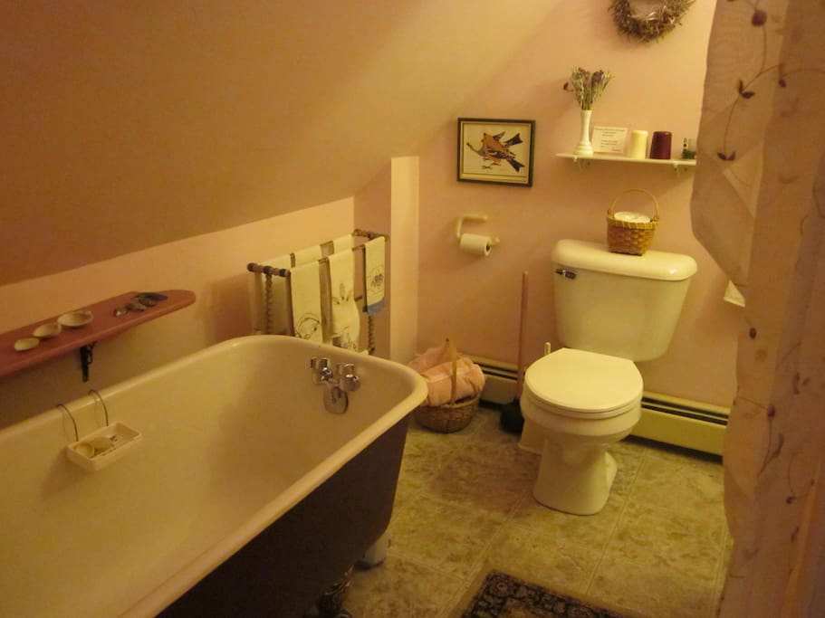 "A classic ""soaking tub""- plus a shower - add to the sweet comfort of this room."