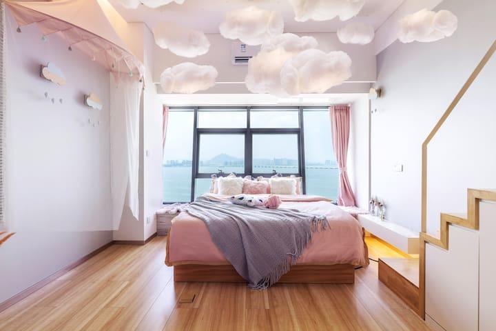 厦门机场|180°落地海景|阁下的海·欣欣Pink云朵复式海景民宿|可住4人|5天起送机服务|