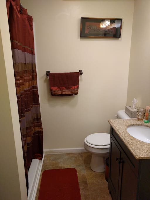 Bathroom right off of bedroom. No tub, shower only.